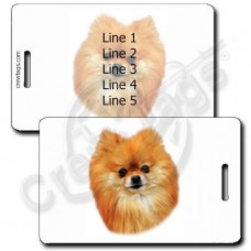 POMERANIAN LUGGAGE TAGS - RED