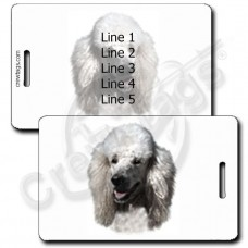 POODLE LUGGAGE TAGS - WHITE