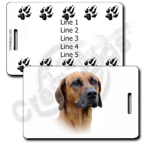 PERSONALIZED RHODESIAN RIDGEBACK LUGGAGE TAGS WITH PAW PRINT BACK