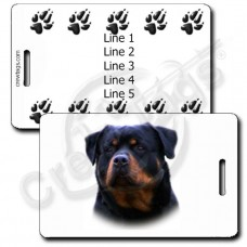 ROTTWEILER LUGGAGE TAGS WITH PAW PRINT BACK