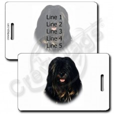TIBETAN TERRIER LUGGAGE TAGS - DARK