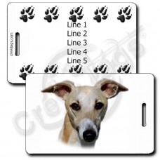 PERSONALIZED WHIPPET LUGGAGE TAGS WITH PAW PRINT BACK
