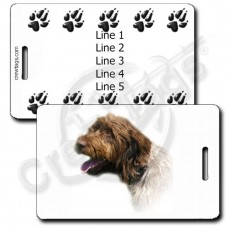 WIREHAIRED POINTING GRIFFON LUGGAGE TAGS WITH PAW PRINT BACK