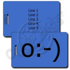 ANGEL EMOTICON PERSONALIZED LUGGAGE TAGS o:-) BLUE