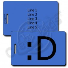 BIG GRIN PERSONALIZED EMOTICON LUGGAGE TAG :D BLUE