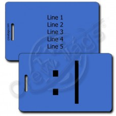 BORED EMOTICON LUGGAGE TAG :| BLUE