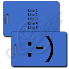 CLASSIC SMILEY EMOTICON PERSONALIZED LUGGAGE TAGS :-) BLUE