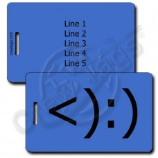 COWBOY EMOTICON LUGGAGE TAG <):) BLUE