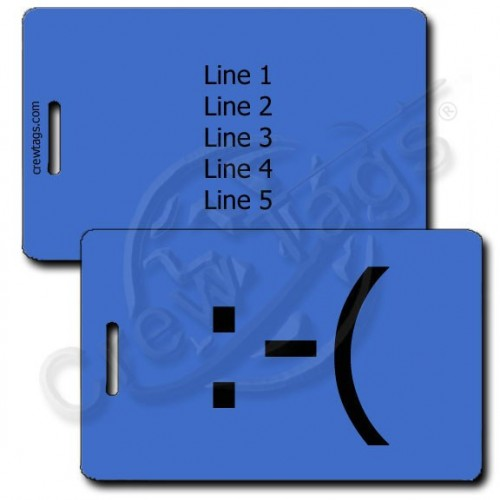 FROWN EMOTICON PERSONALIZED LUGGAGE TAGS  :-( BLUE