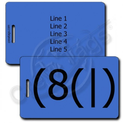 HOMER EMOTICON PERSONALIZED LUGGAGE TAG (8(|) BLUE