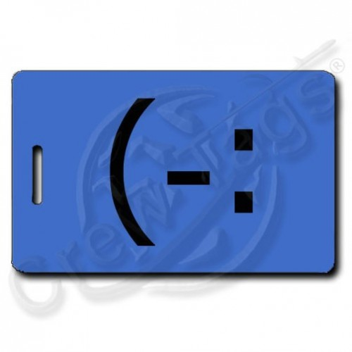 LEFT HANDED SMILE EMOTICON LUGGAGE TAGS (-: BLUE