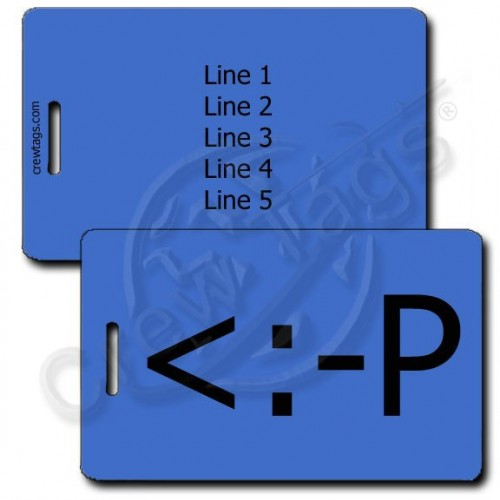 PARTY EMOTICON PERSONALIZED LUGGAGE TAG <:-P BLUE