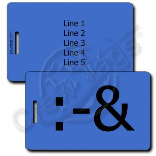 PUKE EMOTICON PERSONALIZED LUGGAGE TAG :-& BLUE