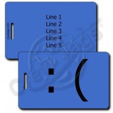 SAD EMOTICON PERSONALIZED LUGGAGE TAG :( BLUE