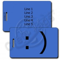 SMILEY EMOTICON LUGGAGE TAG :) BLUE