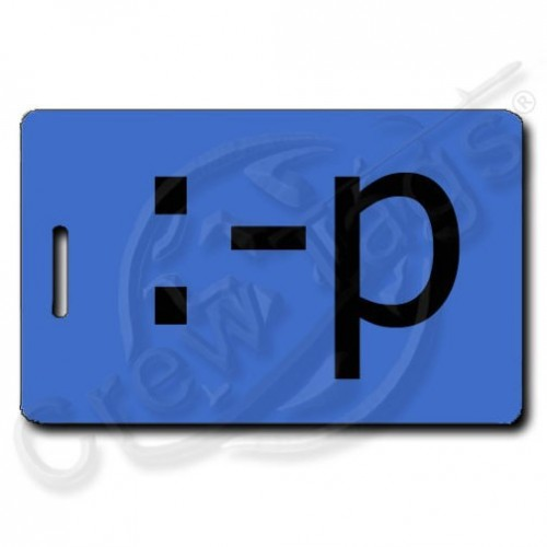 STICKING OUT TONGUE EMOTICON PERSONALIZED LUGGAGE TAG :-p BLUE