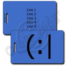 TIRED EMOTICON PERSONALIZED LUGGAGE TAG  (:| BLUE