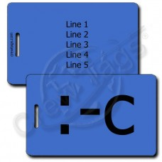 VERY UNHAPPY EMOTICON PERSONALIZED LUGGAGE TAG :-C BLUE