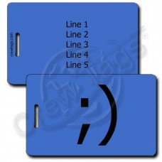 WINK EMOTICON PERSONALIZED LUGGAGE TAG ;) BLUE