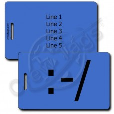 WRY EMOTICON PERSONALIZED LUGGAGE TAG :-/  BLUE