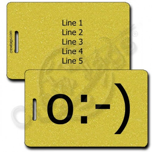 ANGEL EMOTICON PERSONALIZED LUGGAGE TAG o:-) GOLD