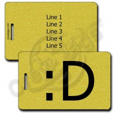 BIG GRIN EMOTICON LUGGAGE TAG :D GOLD