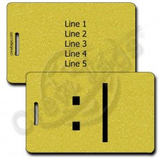 BORED EMOTICON PERSONALIZED LUGGAGE TAGS  :| GOLD