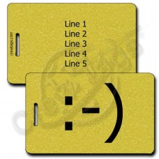 CLASSIC SMILEY EMOTICON LUGGAGE TAG :-) GOLD
