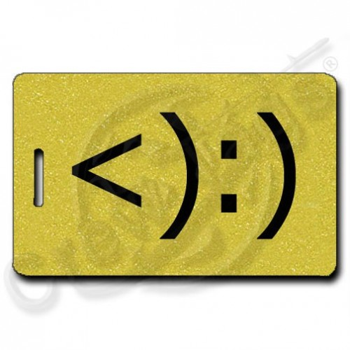 COWBOY EMOTICON PERSONALIZED LUGGAGE TAGS <):) GOLD