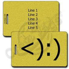 COWBOY EMOTICON LUGGAGE TAG <):) GOLD