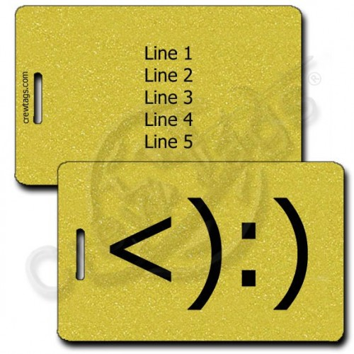 COWBOY PERSONALIZED EMOTICON LUGGAGE TAGS <):) GOLD
