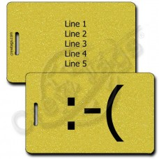 FROWN EMOTICON PERSONALIZED LUGGAGE TAGS  :-( GOLD