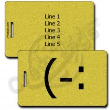 LEFT HANDED SMILE PERSONALIZED EMOTICON LUGGAGE TAG (-: GOLD