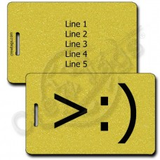 LITTLE DEVIL EMOTICON PERSONALIZED LUGGAGE TAG >:) GOLD
