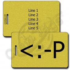 PARTY EMOTICON PERSONALIZED LUGGAGE TAG <:-P GOLD