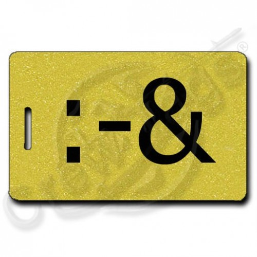 PUKE EMOTICON PERSONALIZED LUGGAGE TAG :-& GOLD
