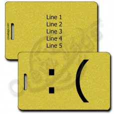 SAD EMOTICON PERSONALIZED LUGGAGE TAG :( GOLD