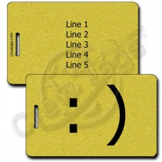 SMILEY EMOTICON LUGGAGE TAG :) GOLD
