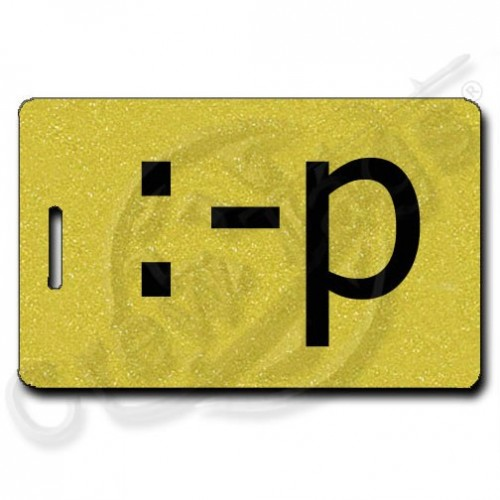 STICKING OUT TONGUE EMOTICON PERSONALIZED LUGGAGE TAG :-p GOLD