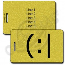 TIRED EMOTICON PERSONALIZED LUGGAGE TAG (:| GOLD
