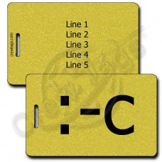 VERY UNHAPPY EMOTICON PERSONALIZED LUGGAGE TAG :-C GOLD