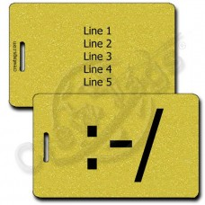WRY EMOTICON PERSONALIZED LUGGAGE TAG :-/ GOLD