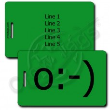 ANGEL EMOTICON PERSONALIZED LUGGAGE TAGS o:-) GREEN