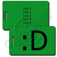BIG GRIN EMOTICON PERSONALIZED LUGGAGE TAG :D GREEN