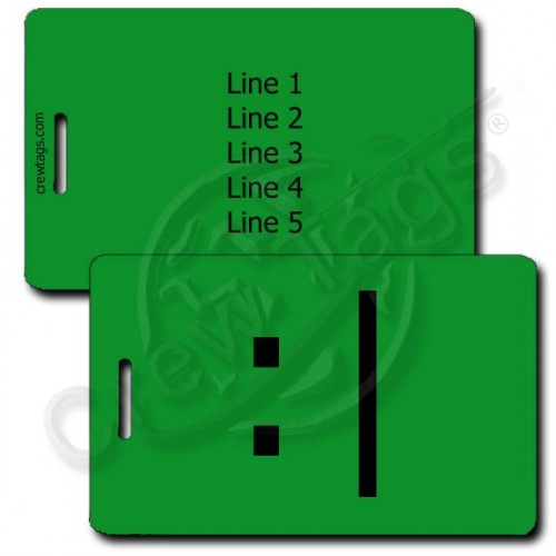 BORED EMOTICON PERSONALIZED LUGGAGE TAG  :| GREEN
