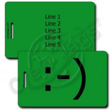 CLASSIC SMILEY EMOTICON PERSONALIZED LUGGAGE TAG :-) GREEN