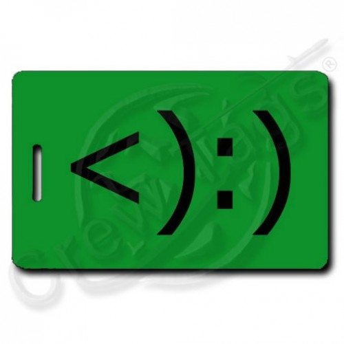 COWBOY EMOTICON PERSONALIZED LUGGAGE TAG <):) GREEN