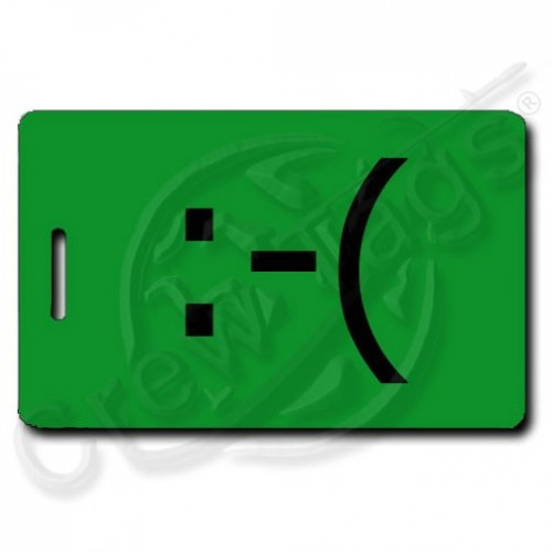 FROWN EMOTICON PERSONALIZED LUGGAGE TAG  :-( GREEN