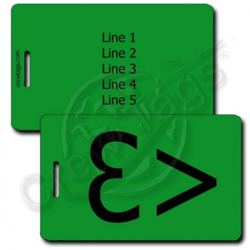 PERSONALIZED HEART EMOTICON LUGGAGE TAG <3 GREEN