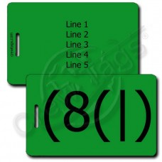 HOMER EMOTICON PERSONALIZED LUGGAGE TAGS (8(|) GREEN